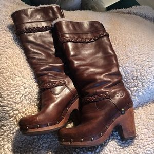 Ugg Shearling Knee High Clog Boots 37